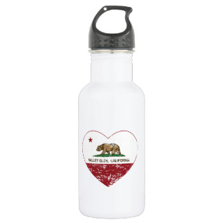 california flag valley glen heart distressed 18oz water bottle