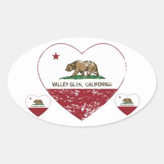 california flag valley glen heart distressed oval sticker