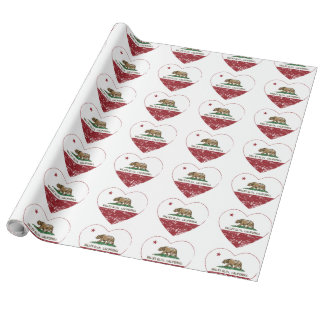 california flag valley glen heart distressed wrapping paper