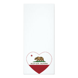 california flag valley glen heart 4x9.25 paper invitation card