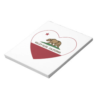 california flag valley glen heart note pad