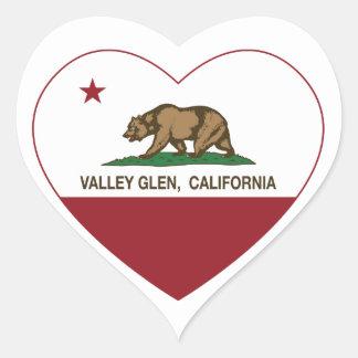 california flag valley glen heart heart sticker