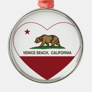 california flag venice beach heart round metal christmas ornament