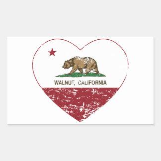 california flag walnut heart distressed rectangular sticker