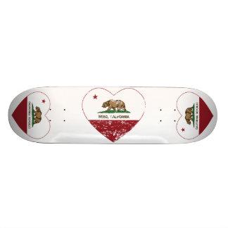 california flag weed heart distressed skateboard deck