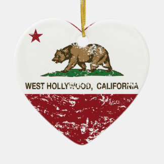 california flag west hollywood heart distressed christmas tree ornament