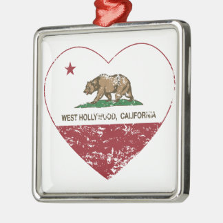 california flag west hollywood heart distressed christmas ornament