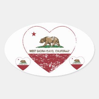 california flag west sacramento heart distressed oval sticker