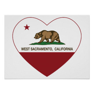 california flag west sacramento heart poster