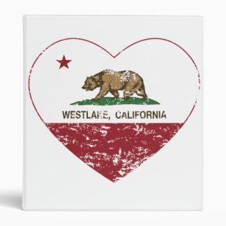 california flag westlake heart distressed binder