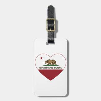 california flag westwood village heart tag for luggage