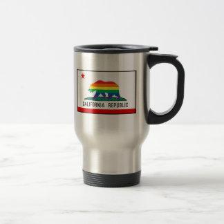 California Flag with Rainbow Bear Travel Mug