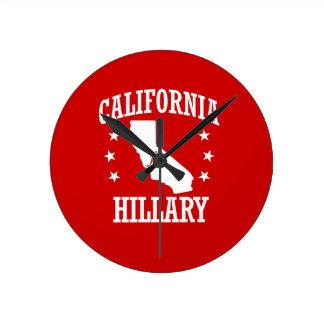 CALIFORNIA FOR HILLARY CLINTON ROUND WALL CLOCKS