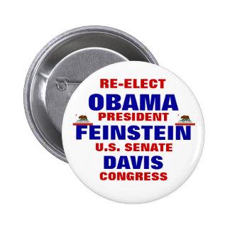 California for Obama Feinstein Davis Pinback Button