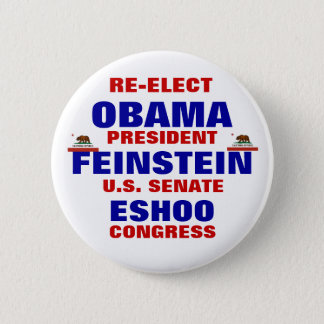 California for Obama Feinstein Eshoo Button