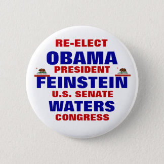 California for Obama Feinstein Waters Pinback Button