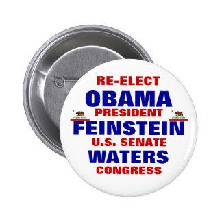 California for Obama Feinstein Waters Pinback Button