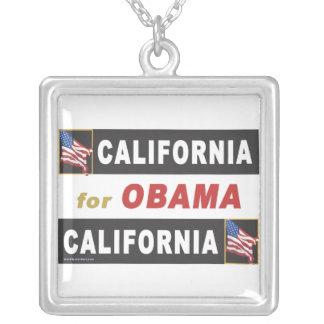 California for Obama Square Pendant Necklace