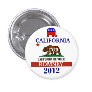 California for Romney 2012 1 Inch Round Button