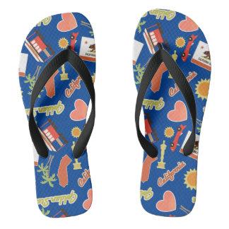 California Fun Blue Pattern Flip Flops