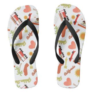 California Fun Pattern Flip Flops