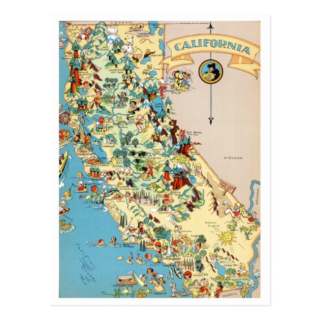 California Funny Vintage Map Postcard Zazzlecom