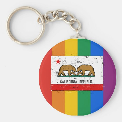CALIFORNIA GAY MARRIAGE FLAG KEYCHAINS