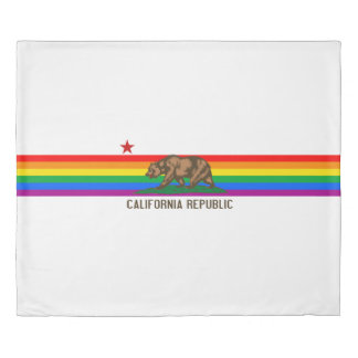 California Gay Pride Flag Duvet Cover