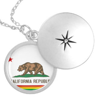 California Gay Pride Flag Locket Necklace