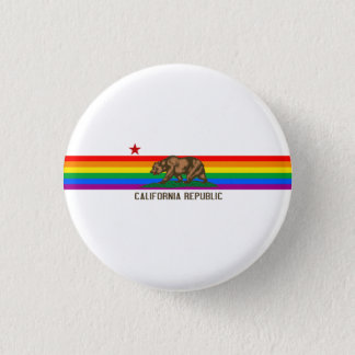 California Gay Pride Flag Pinback Button