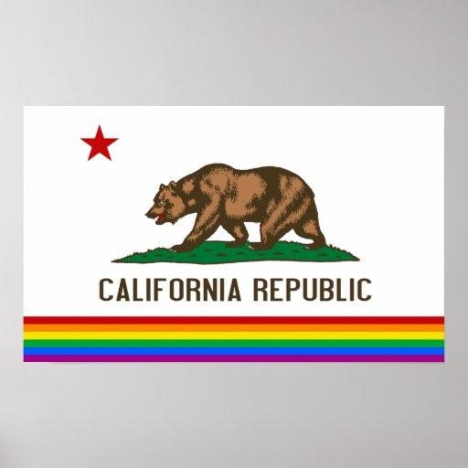 California Gay Pride Flag Poster