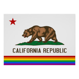 California Gay Pride Flag Poster