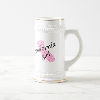 California Girl with Scribbled California Map Beer Stein