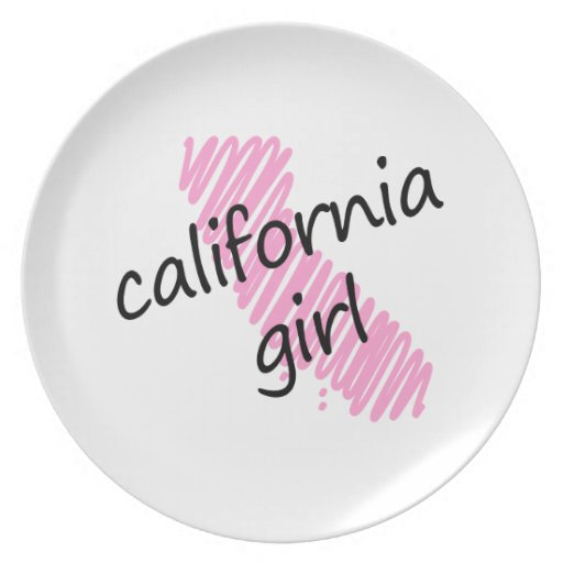 California Girl with Scribbled California Map Party Plates