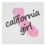 California Girl with Scribbled California Map Posters