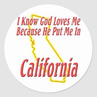 California - God Loves Me Round Stickers