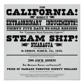 California Gold Rush Handbill Card