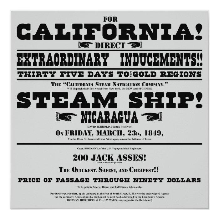 California Gold Rush Handbill Card