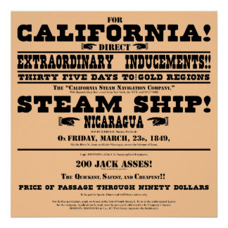California Gold Rush Handbill Poster