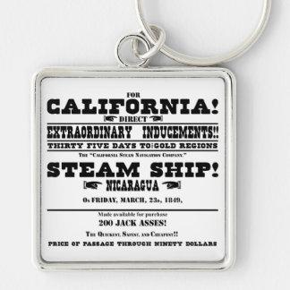 California Gold Rush Silver-Colored Square Keychain