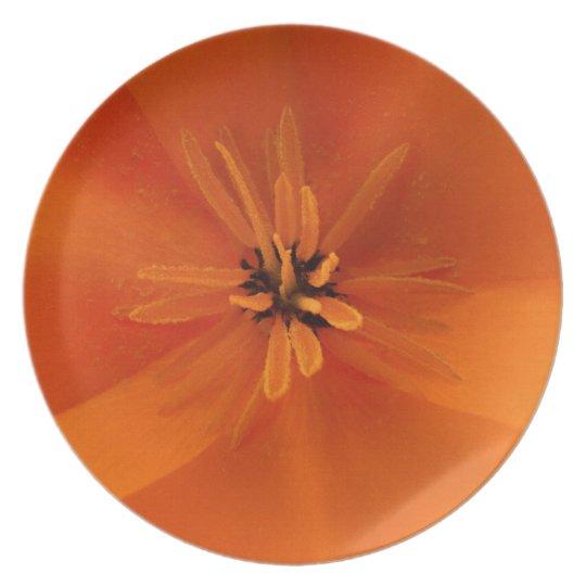 California Golden Poppy Macro Dinner Plate