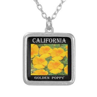 California Golden Poppy Square Pendant Necklace