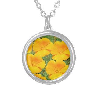 California Golden Poppy Round Pendant Necklace