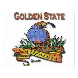 California Golden State Quail Postcard