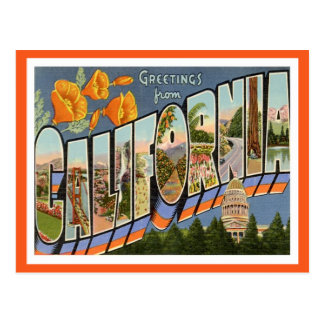 California Greetings From US States Postcard
