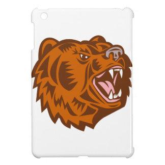 California Grizzly Bear Head Growling Woodcut iPad Mini Covers