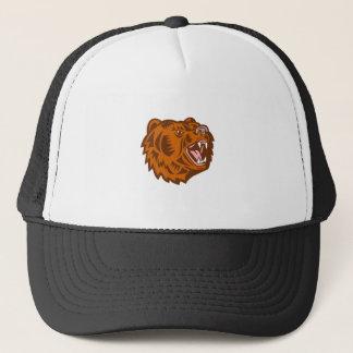 California Grizzly Bear Head Growling Woodcut Trucker Hat