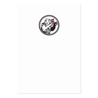 California Grizzly Bear Smirk Paw Circle Retro Large Business Card