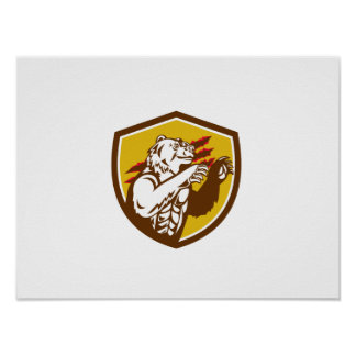 California Grizzly Bear Smirking Claw Marks Crest Poster