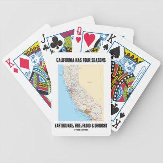 California Has Four Seasons Earthquake Fire Flood Bicycle Playing Cards